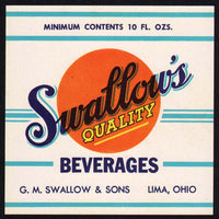 Vintage soda pop bottle label SWALLOWS BEVERAGES 10oz Lima Ohio new old stock