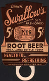 Vintage sign SWALLOWS ROOT BEER soda pop bottle topper die cut 1941 n-mint condition
