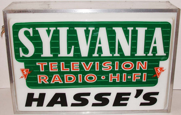 Vintage lighted sign SYLVANIA Television Radio Hi Fi Hasses large unused n-mint