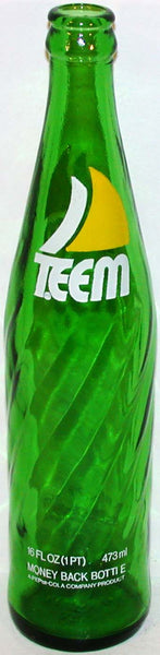 Vintage soda pop bottle TEEM by Pepsi Cola green glass sailboat logo n-mint condition
