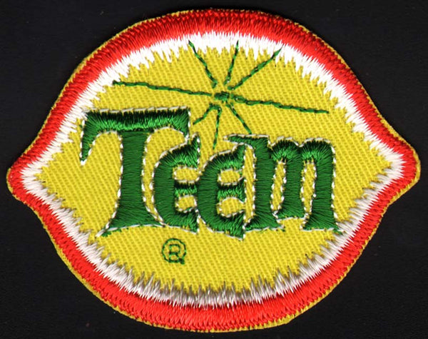 Vintage uniform patch TEEM soda pop small size die cut lemon PEPSI COLA n-mint+