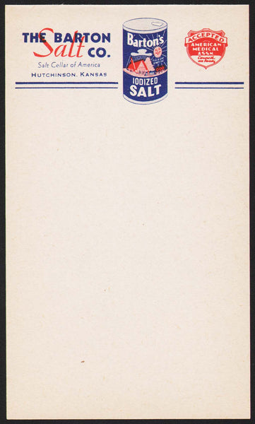 Vintage note sheet THE BARTON SALT CO Hutchinson Kansas container pic n-mint+