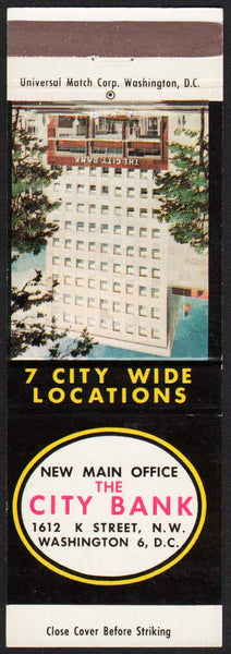 Vintage matchbook cover THE CITY BANK building pictured Washington DC unstruck