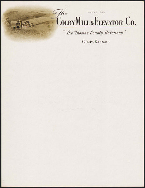 Vintage letterhead THE COLBY MILL and ELEVATOR CO Thomas County Hatchery Kansas