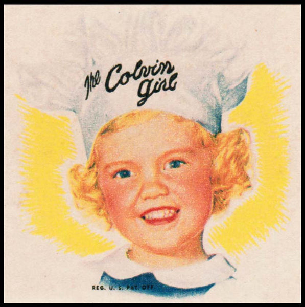 Vintage label THE COLVIN GIRL bread end label girl pictured new old stock n-mint