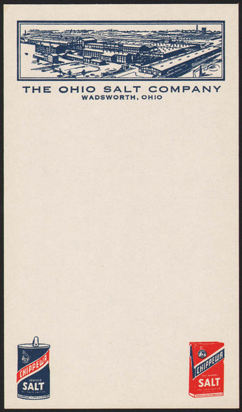 Vintage note sheet THE OHIO SALT COMPANY Wadsworth factory pic Chippewa n-mint+
