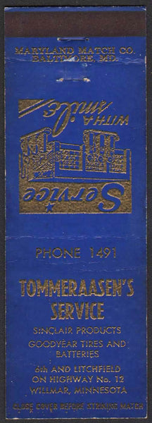 Vintage matchbook cover TOMMERAASENS SERVICE Sinclair station Willmar Minnesota