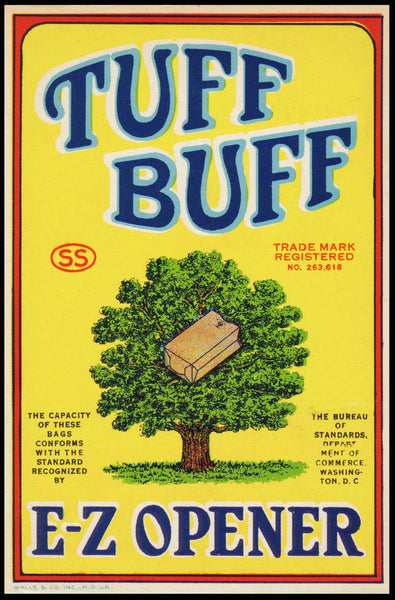Vintage label TUFF BUFF paper bags E-Z Opener tree and bag pictured n-mint+