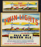Vintage soda pop bottle label TWIN LIGHTS GINGER ALE lighthouses pictured quart Mass