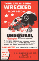 Vintage postcard UNDERSEAL COATING car pic J M Edgerton Goldsboro North Carolina