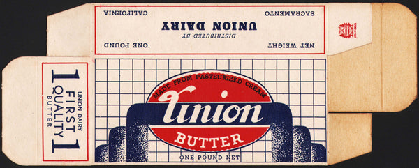 Vintage box UNION BUTTER Union Dairy Sacramento California new old stock n-mint