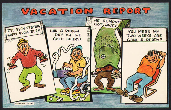 Vintage postcard VACATION REPORT Curt Teich comic cartoon pictured n-mint+ condition