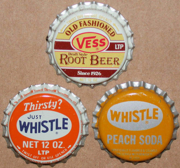 Vintage soda pop bottle caps VESS WHISTLE Collection of 3 different unused condition