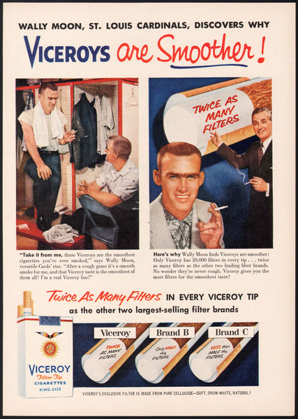 Vintage magazine ad VICEROY CIGARETTES 1956 Wally Moon St Louis Cardinals pictured