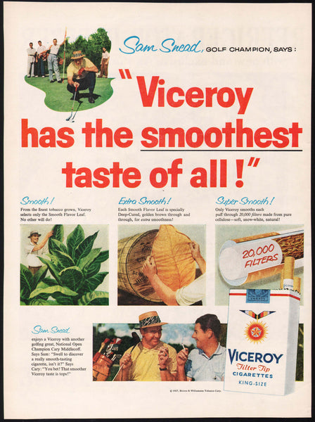 Vintage magazine ad VICEROY CIGARETTES from 1958 picturing pro golfer Sam Snead