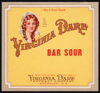 Vintage soda pop bottle label VIRGINIA DARE BAR SOUR Brooklyn NY new old stock