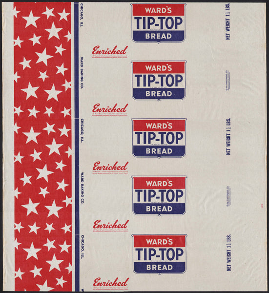 Vintage bread wrapper WARDS TIP TOP dated 1941 Chicago Illinois new old stock