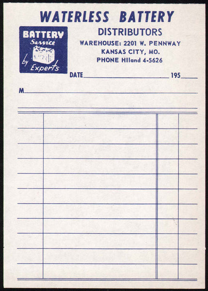 Vintage receipt WATERLESS BATTERY DISTRIBUTORS Kansas City Missouri unused n-mint