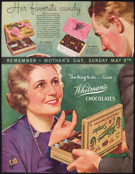 Vintage magazine ad WHITMANS CHOCOLATES 1937 Mothers Day candy boxes pictured