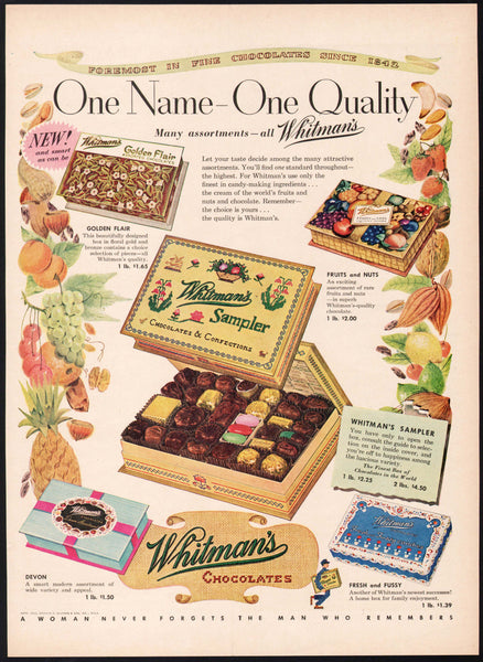 Vintage magazine ad WHITMANS CHOCOLATES 1953 five priced boxes of candy pictured