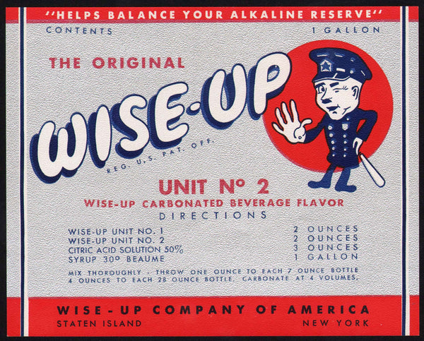 Vintage soda pop bottle label WISE UP policeman pictured Staten Island 1 Gallon