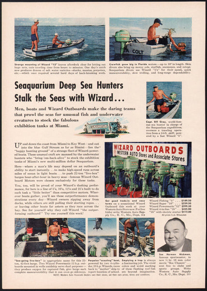 Vintage magazine ad WIZARD OUTBOARDS 1956 Western Auto Herman Hickman pictured