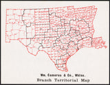 Vintage map WM CAMERON and CO WHOLESALE Waco Texas Branch Territorial Map n-mint