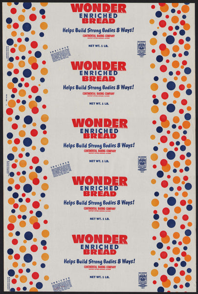 Vintage bread wrapper WONDER BREAD dated 1953 Continental Chicago ILL unused
