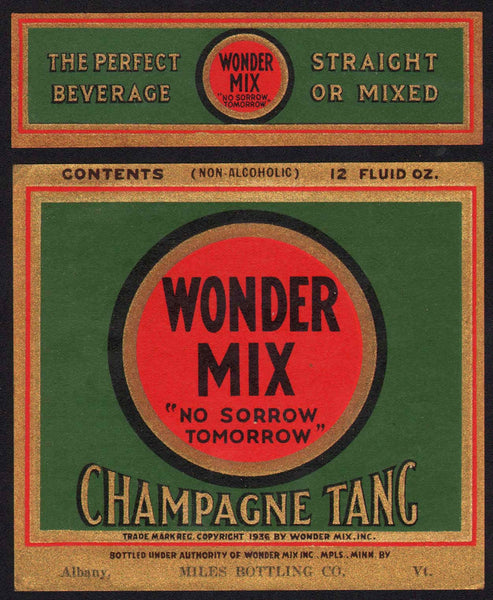 Vintage soda pop bottle label WONDER MIX CHAMPAGNE TANG Albany Vermont n-mint