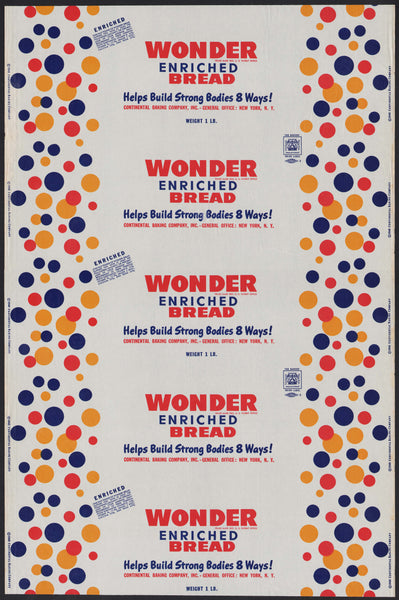 Vintage bread wrapper WONDER BREAD dated 1948 Continental New York NY unused