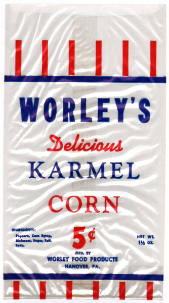 Vintage bag WORLEYS KARMEL CORN Hanover Pennsylvania unused new old stock n-mint