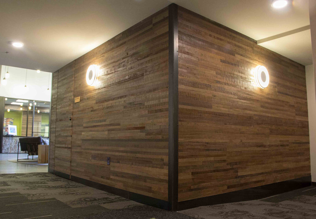 Windfall Lumber African Hardwood Plank Cladding, True North Apartments Lobby