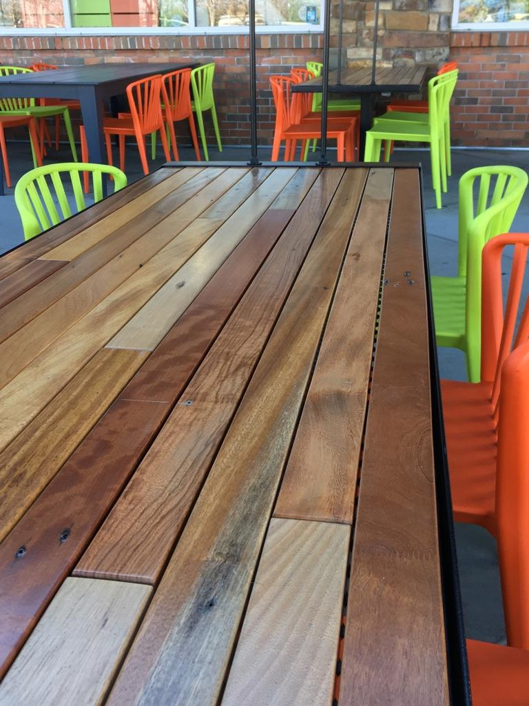 African Hardwood slat table | Whole Foods, Roseville, CA