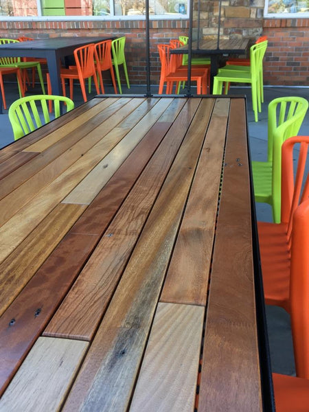 African Hardwood slat table, Whole Foods, Roseville, CA