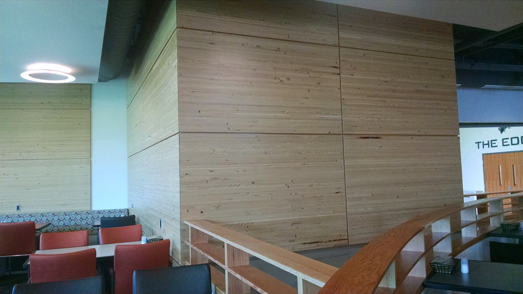 "Windfall Lumber 3/4"" Engineered Panel, Akers Hall, The Edge Cafeteria, Michigan St. Univ."