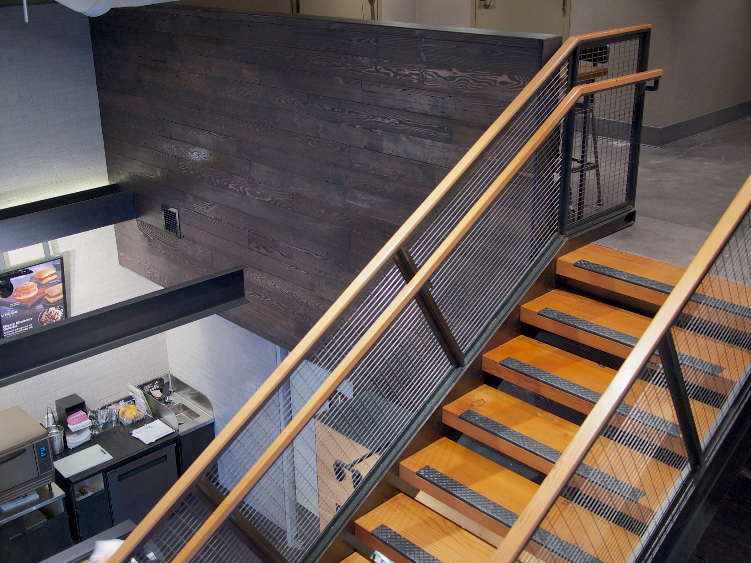 Portland Cladding Ebony, Douglas Fir Stair Treads | Starbucks Store