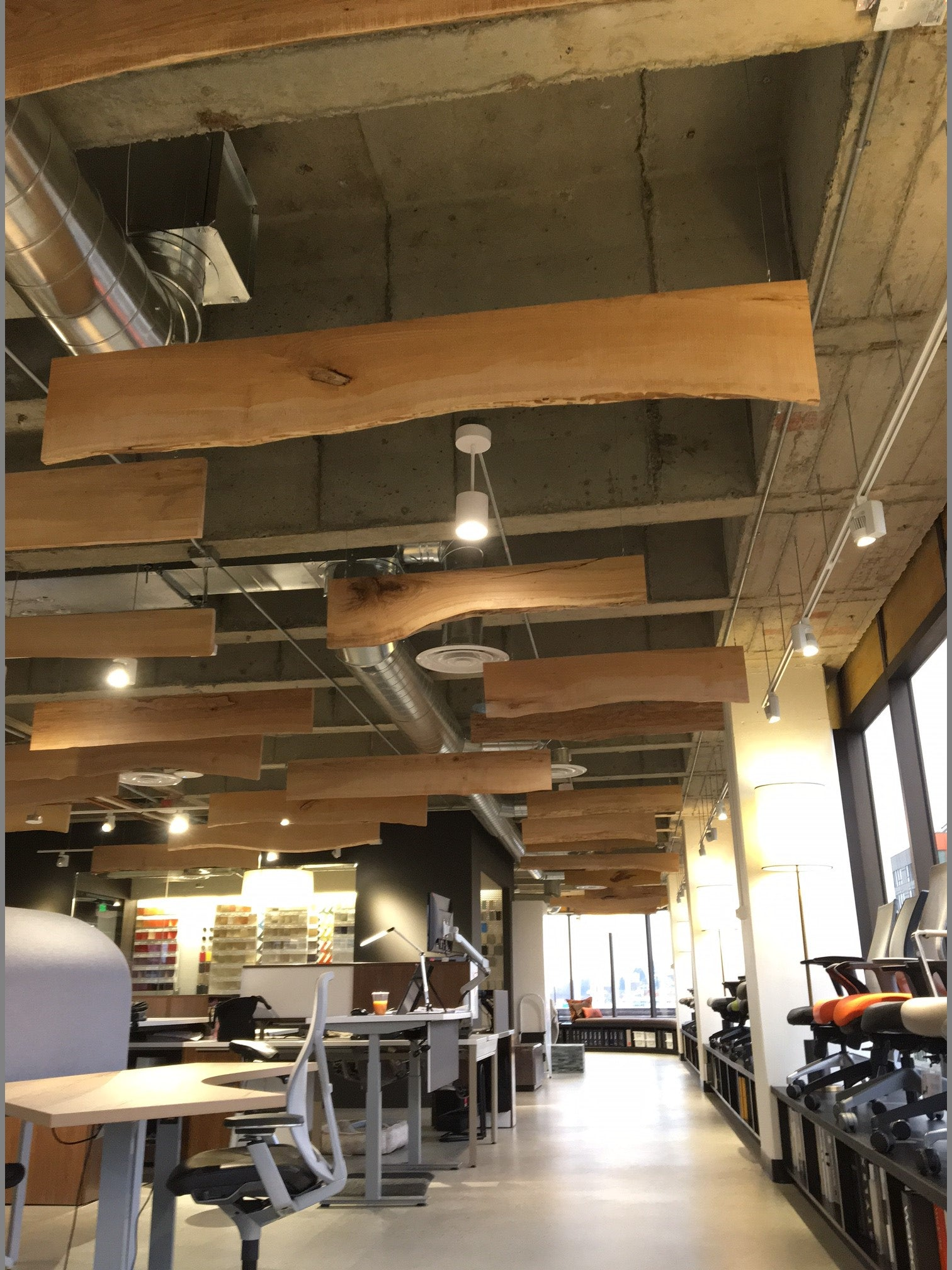 Western Maple Live Edge Ceiling fins | COI Offices, Seattle, WA