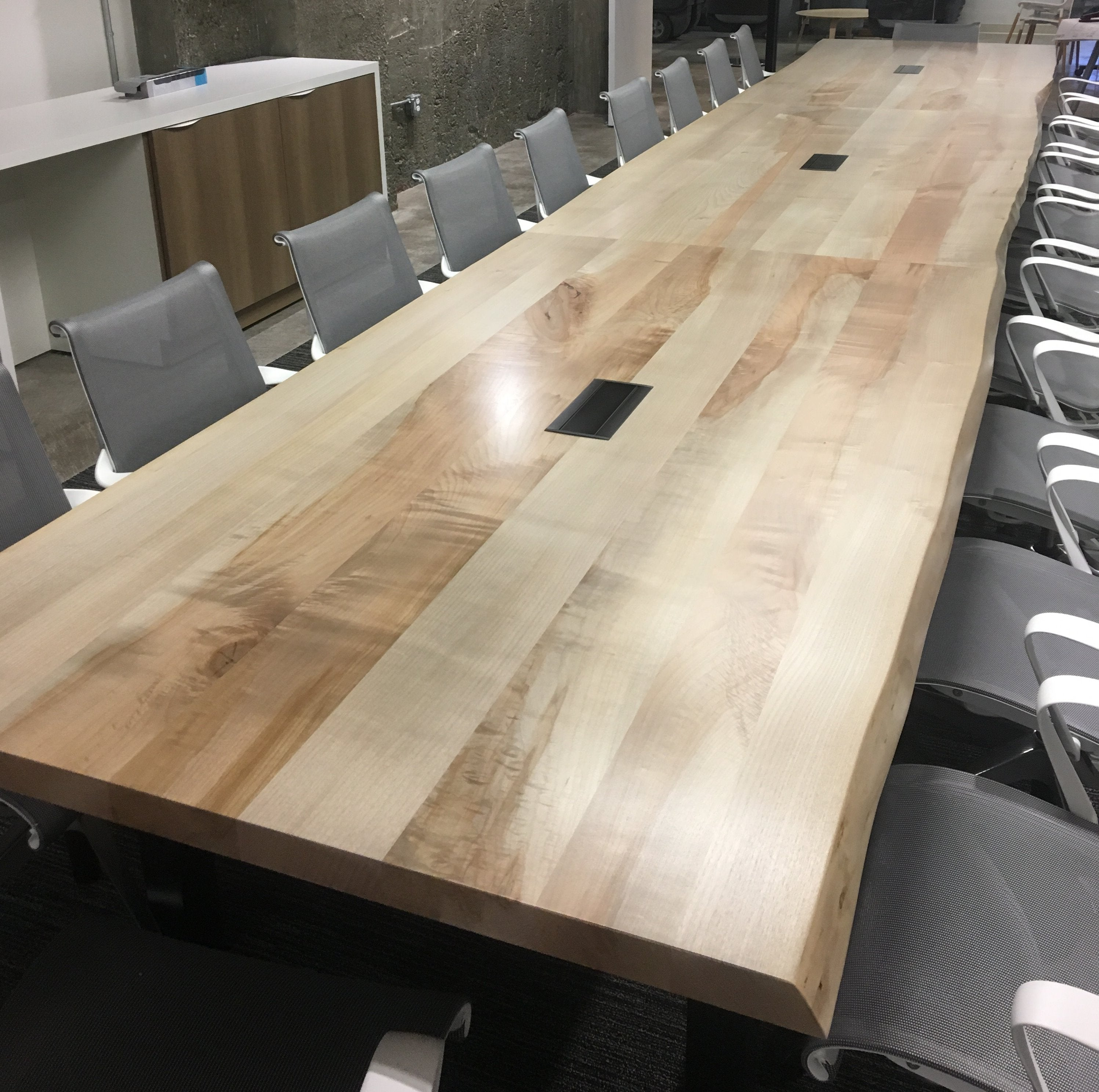 Western Maple Live Edge Conference Table w/ power modules | San Francisco, CA