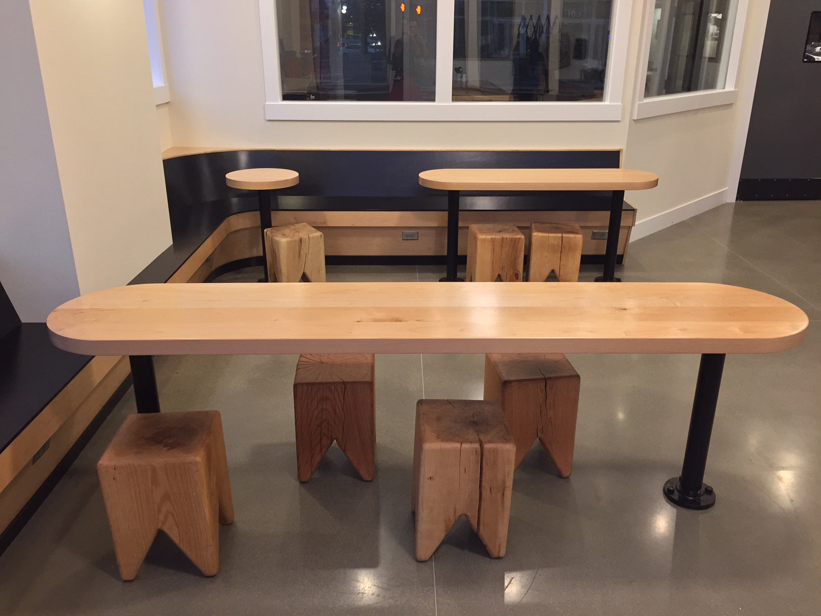 Western Maple tables | Olympia Coffee Roasters, Olympia, WA