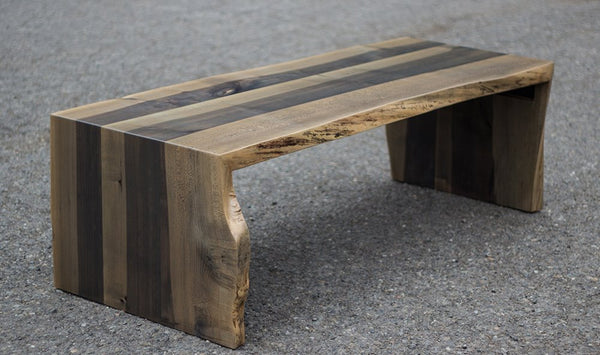 Western maple live edge bench, waterfall legs, w/ Iron & Vinegar stain and clear finish.