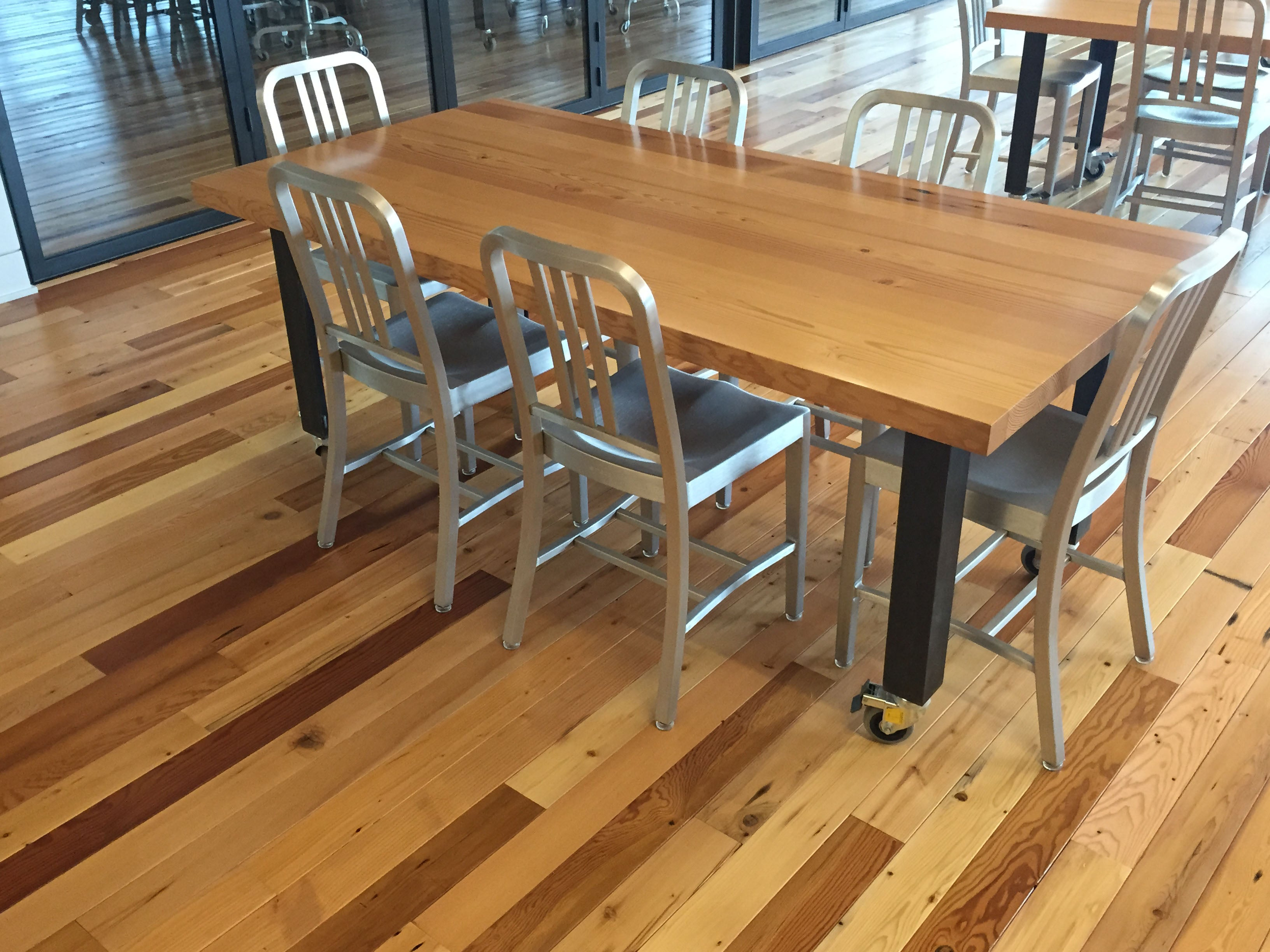 Reclaimed Douglas fir top, Angle Iron legs with castors |  Lease Crutcher Lewis HQ