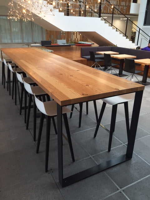 Reclaimed Douglas Fir top, Sled Flat Iron Base | Microsoft, Redmond, WA