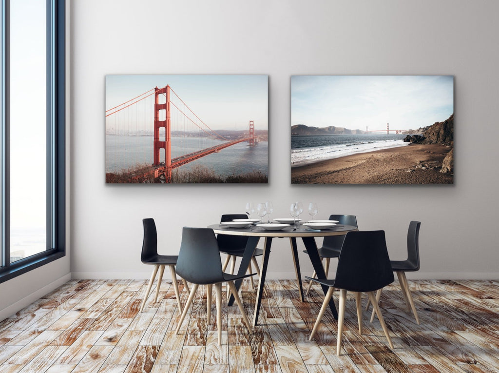 2-piece canvas print wall art collection by Shannon Strom featuring San Francisco California Golden Gate Bridge photos, including: Baker Beach and Golden Gate Bridge.