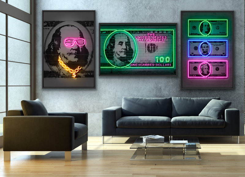3-piece canvas print wall art collection by Octavian Mielu featuring: Franklin, 100 Dollars, and Dollars.