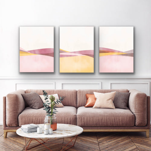 3-pieces canvas wall art collection by Izabela Pichotka featuring: Pink Hills 1, Pink Hills 2, and Pink Hills 3.
