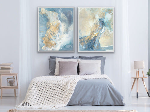 Canvas print wall art set abstract paintings by Julia Contacessi including: Dream Catcher No. 3 and Dream Catcher No. 4.