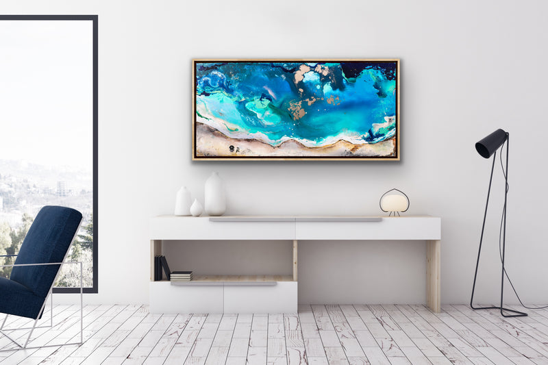 Canvas print wall of the ocean and beach by Kinga Maziuk.