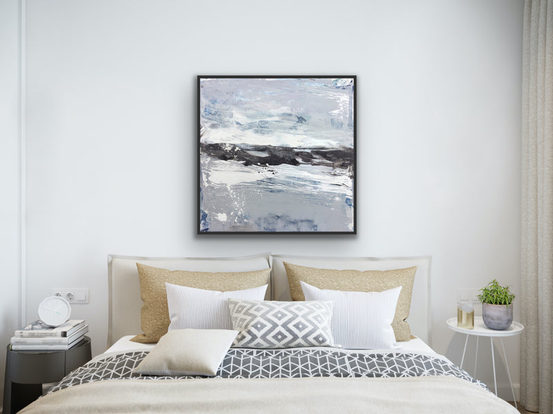 anvas print wall art of modern abstract painting by Julia Contacessi featuring sweeping, gestural paint marks in a light coastal palette, accents of metallic silver splatters, and grounded in a wash of black.