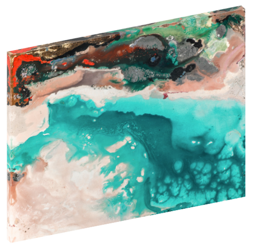 Canvas print wall art of an abstract ocean shore line titled Map of Freedom by Kinga Maziuk.