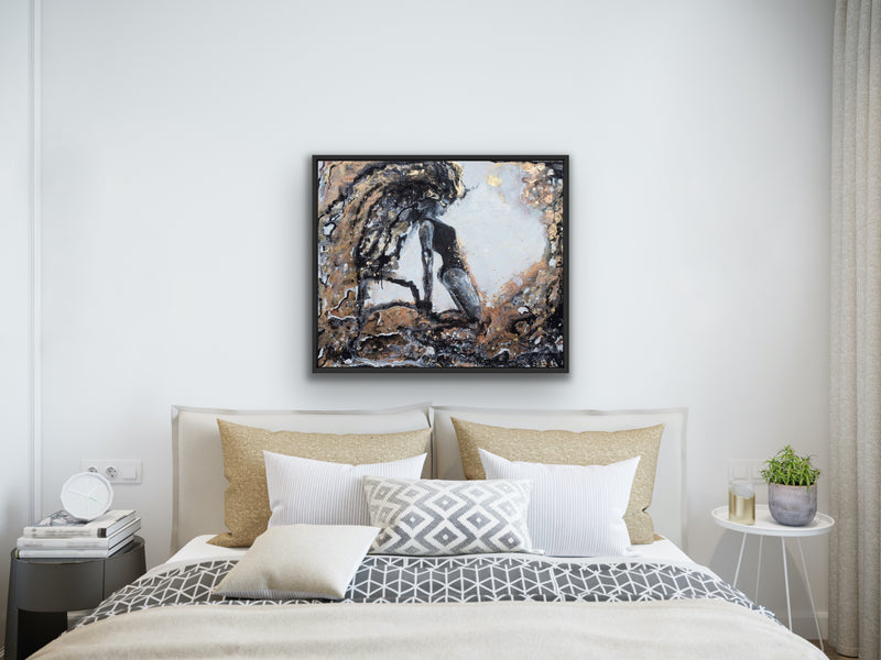 Canvas print wall art of an abstract woman titled Spark by Kinga Maziuk.